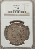 Peace Dollars: , 1928 $1 VF30 NGC. NGC Census: (16/5209). PCGS Population (18/7495).Mintage: 360,649. Numismedia Wsl. Price for problem fre...