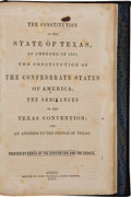 Books:Americana & American History, [C.S.A.]. Constitution of the State of Texas as Amended in 1861.The Constitution of the Confederate States of America. ...