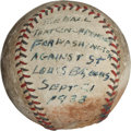 Baseball Collectibles:Balls, 1933 Washington Senators Pennant-Clinching Last Out Baseball....