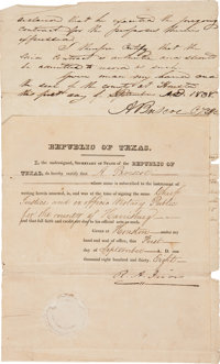 """Robert A. Irion Document Signed """"R. A. Irion"""" as secretary of state of the Republic of Texas"""