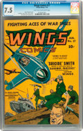 Golden Age (1938-1955):War, Wings Comics #17 (Fiction House, 1942) CGC VF- 7.5 Light tan tooff-white pages....