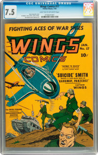 Wings Comics #17 (Fiction House, 1942) CGC VF- 7.5 Light tan to off-white pages