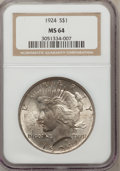 Peace Dollars: , 1924 $1 MS64 NGC. NGC Census: (17417/8328). PCGS Population(11992/3357). Mintage: 11,811,000. Numismedia Wsl. Price for pr...