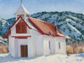 Paintings, JEANNE GROVER (American, 20th Century). Pilar Church in the Snow, Santa Fe, 2007. Oil on board. 12 x 16 inches (30.5 x 4...