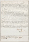 Autographs:Non-American, [Texas Colonial Governor]. Manuel Muñoz Signed Document Listing his Full Military Career. ...