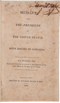 Miscellaneous:Booklets, [Moses Austin]. Message from the President of the United States to both Houses of Congress. 8th November 180...