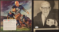 Football Collectibles:Photos, Red Grange and George Halas Signed Magazine Clippings Lot of 2....