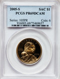Proof Sacagawea Dollars, 2005-S $1 PR69 Deep Cameo PCGS. PCGS Population (12022/589). NGCCensus: (12960/3061). Numismedia Wsl. Price for problem f...