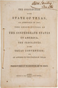 Books, [C.S.A.]. The Constitution of the State of Texas, as Amended in1861. The Constitution of the Confederate States of Amer...