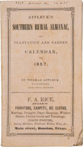 Books:Americana & American History, Thomas Affleck. Affleck's Southern Rural Almanac, and Plantationand Garden Calendar, for 1857; Being ...