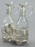 Silver Holloware, British:Holloware, AN ALDRIDGE AND GREEN GEORGE III SILVER AND CUT GLASS CRUET SET .Charles Aldridge & Henry Green, London, England , 1771-177...(Total: 3 Items)