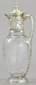 Silver Holloware, British:Holloware, A CHARLES EDDINGTON VICTORIAN SILVER AND CUT GLASS CLARET JUG .Charles Eddington, London, England, 1889-1890. Marks: (lion ...