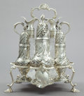Silver Holloware, British:Holloware, A SAMUEL WOODS GEORGE III SILVER AND CUT GLASS CRUET SET . SamuelWoods, London, England, 1760-1761. Marks: (lion passant), ...(Total: 6 Items)