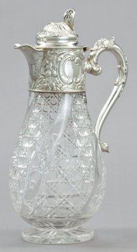 A SISSONS VICTORIAN SILVER AND CUT GLASS CLARET JUG William and George Sissons, Sheffield, England, 1890-1891