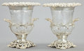 Silver Holloware, British:Holloware, A PAIR OF WILLIAM COMYNS EDWARDIAN SILVER AND GLASS WINE COOLERS .William Comyns & Sons, London, England, 1903-1904. Marks:...(Total: 2 Items)