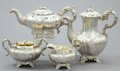 Silver Holloware, British:Holloware, A FOUR PIECE CHARLES FOX VICTORIAN SILVER AND SILVER GILT TEA ANDCOFFEE SERVICE . Charles Fox, London, England, 1840-1841. ...(Total: 4 Items)