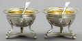 Silver Holloware, British:Holloware, A PAIR OF GEORGE III SILVER AND SILVER GILT SALTS WITH ASSOCIATEDSPOONS . Maker of open salts unknown, London, England, 181...(Total: 4 Items)