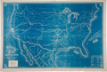 "Miscellaneous:Maps, U.S. Map Issued by the Commercial Herald and Market Review.Overall 35.75"" x 24"". The map is solid blue with..."
