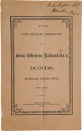 Books:Americana & American History, [Railroads]. The New Orleans, Opelousas and Great WesternRailroad Co.'s Bonds, Mortgage, Sinking Fund, Etc., Etc....