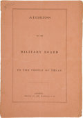 Books, [Francis Lubbock, et al.]. Address of the Military Board to thePeople of Texas....