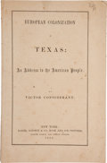 Books:Americana & American History, Victor Considerant. European Colonization in Texas: An Addressto the American People....