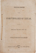 Books:Americana & American History, [Texas Legislature]. Biennial Report of the Comptroller ofTexas, for the Fiscal Years 1858-'59....