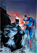 Memorabilia:Poster, Jim Lee and Alex Ross Legendary Heroes Limited EditionGiclee Canvas #DX34/100 (Clampett Studio Collections, 2006)...