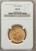 Indian Eagles, 1911-D $10 AU55 NGC....