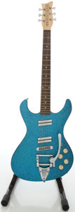 Musical Instruments:Electric Guitars, Recent Danelectro Blue Sparkle Solid Body Electric Guitar,#040006671....