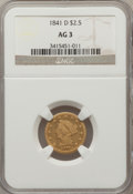 Liberty Quarter Eagles: , 1841-D $2 1/2 AG3 NGC. NGC Census: (0/57). PCGS Population (0/54).Mintage: 4,164. (#7722)...