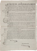Miscellaneous:Broadside, [Death of Charles III]. Manuel Antonio Florez Broadside Announcingthe Death of King Charles III of Spain. ...