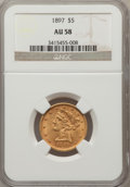 Liberty Half Eagles: , 1897 $5 AU58 NGC. NGC Census: (209/3412). PCGS Population(193/1360). Mintage: 867,883. Numismedia Wsl. Price for problemf...