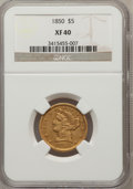 Liberty Half Eagles: , 1850 $5 XF40 NGC. NGC Census: (13/110). PCGS Population (9/49).Mintage: 64,400. Numismedia Wsl. Price for problem free NGC...