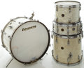 Musical Instruments:Drums & Percussion, Vintage Gretsch Round Badge White Marine Pearl Drum Set....