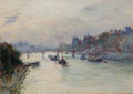 Fine Art - Painting, European:Modern  (1900 1949)  , GUSTAVE MADELAIN (French, 1867-1944). Passerelle des Arts. Oil on canvas. 13 x 18 inches (33.0 x 45.7 cm). Signed lower ...