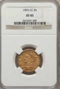 Liberty Half Eagles: , 1892-CC $5 XF45 NGC. NGC Census: (70/542). PCGS Population(57/287). Mintage: 82,968. Numismedia Wsl. Price for problem fre...