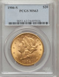 Liberty Double Eagles: , 1906-S $20 MS63 PCGS. PCGS Population (1074/260). NGC Census:(624/105). Mintage: 2,065,750. Numismedia Wsl. Price for prob...