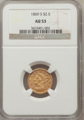 Liberty Quarter Eagles: , 1869-S $2 1/2 AU53 NGC. NGC Census: (18/111). PCGS Population(10/44). Mintage: 29,500. Numismedia Wsl. Price for problem f...