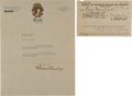 Autographs:Letters, 1927 Charles Comiskey Signed Letter....