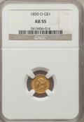 Gold Dollars: , 1850-O G$1 AU55 NGC. NGC Census: (21/145). PCGS Population (18/25).Mintage: 14,000. Numismedia Wsl. Price for problem free...