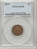 Indian Cents: , 1875 1C XF40 PCGS. PCGS Population (37/243). NGC Census: (18/452).Mintage: 13,528,000. Numismedia Wsl. Price for problem f...