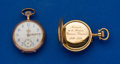 Timepieces:Pocket (post 1900), Two Swiss 14k Gold Open Face Pocket Watches Runners. ... (Total: 2Items)