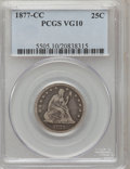 Seated Quarters: , 1877-CC 25C VG10 PCGS. PCGS Population (14/523). NGC Census:(2/399). Mintage: 4,192,000. Numismedia Wsl. Price for problem...