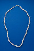 Estate Jewelry:Pearls, Three Strands Of Pearls With Gold Clasps. ... (Total: 3 Items)