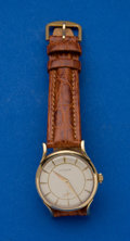 Timepieces:Wristwatch, LeCoultre 14k Gold Bumper Wind Wristwatch. ...