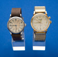 Timepieces:Wristwatch, Two Wristwatches LeCoultre & Vulcain Cricket Runners. ...(Total: 2 Items)