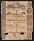 Confederate Notes:1862 Issues, T53 $5 1862. Five Examples.. ... (Total: 5 notes)