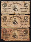 Confederate Notes:1864 Issues, T66 $50 1864. Three Examples.. ... (Total: 3 notes)