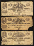 Confederate Notes:1862 Issues, T42 $2 1862. Three Examples.. ... (Total: 3 notes)