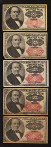 Fractional Currency:Fifth Issue, Fr. 1308 25¢ Fifth Issue Very Fine.. Fr. 1309 25c Fifth Issue VeryFine or better.. ... (Total: 5 notes)